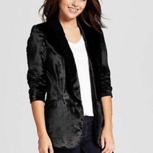 Xhilaration Black Crushed Velvet Blazer Jacket